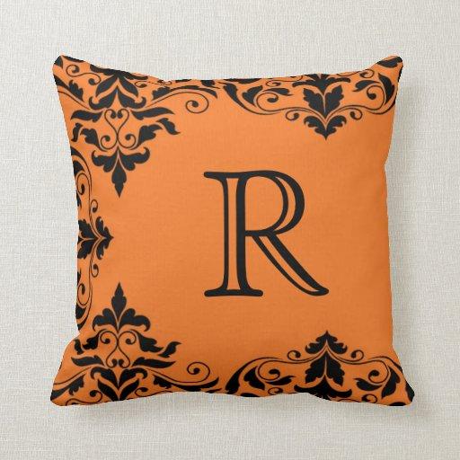 Almohada anaranjada y negra del damasco del cojín decorativo