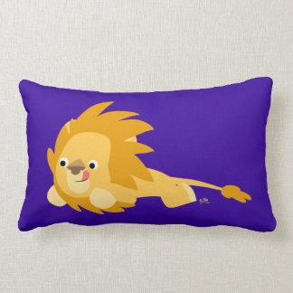 Almohada animosa linda del león del dibujo animado
