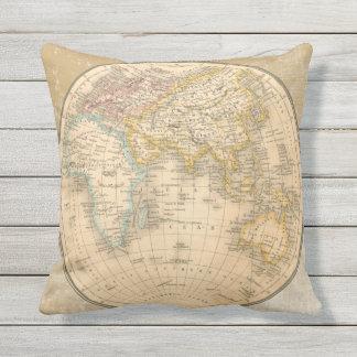 Almohada antigua bilateral fresca del mapa de