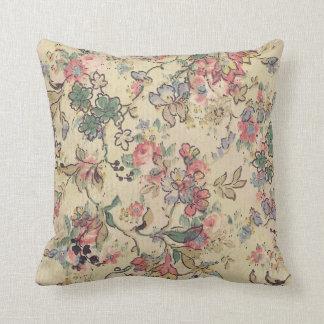 Almohada antigua del papel pintado floral