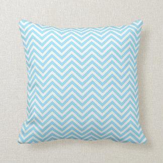 Almohada azul clara y blanca de Chevron