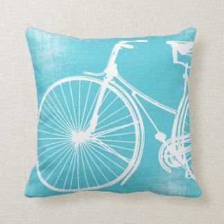 Almohada azul de la bicicleta del blanco gris