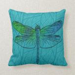 Almohada azul de la libélula de la acuarela del tr
