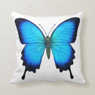 Almohada azul de la mariposa de Papilio Ulises Cojín Decorativo