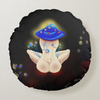 Almohada azul de la señora de la seta cojín redondo