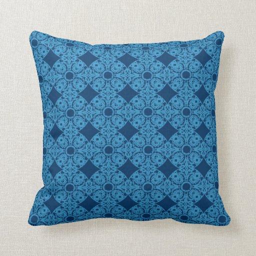 Almohada azul de los medallones