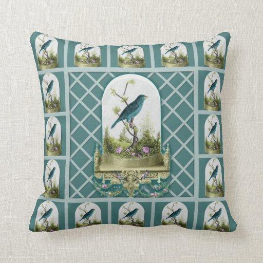 Almohada azul del arte del pájaro del vintage impo