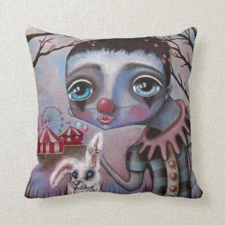 Almohada azul del circo del payaso y del conejo