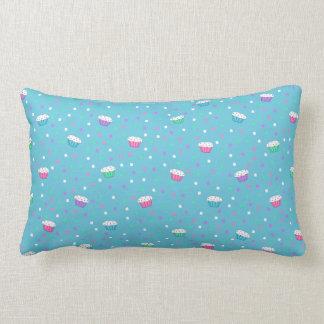 Almohada azul del confeti y de las magdalenas cojín lumbar