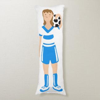 Almohada azul del cuerpo del chica del fútbol