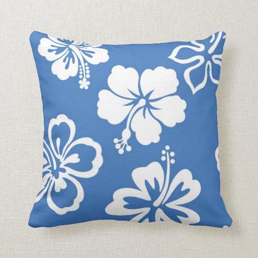 Almohada azul del hibisco
