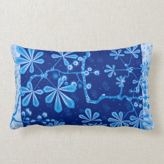 Almohada azul del Lumbar de la flor de Frost