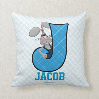 """Almohada azul del monograma """"J"""" del Jackrabbit del"""