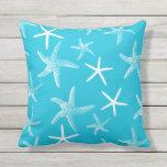Almohada azul del sofá de las estrellas de mar de