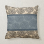 Almohada azul del Zinnia del vintage