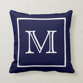 Almohada azul enmarcada blanco de MoJo del