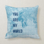 Almohada azul fresca del mapa del mundo