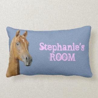 Almohada azul personalizada del caballo del color