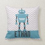 Almohada azul personalizada del robot de los