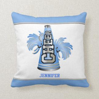 Almohada azul y blanca de la animadora del megáfon
