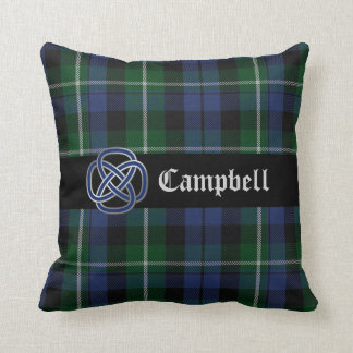 Almohada azul y verde de Campbell de tartán de la