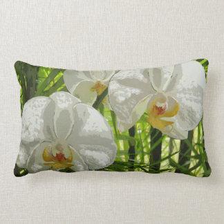 Almohada blanca del lumbar de las orquídeas cojín lumbar