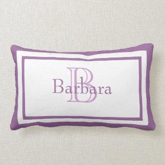 Almohada blanca púrpura del recuerdo del nombre de