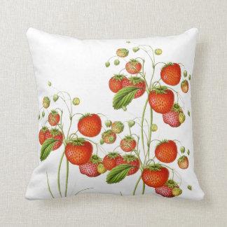 Almohada botánica de la fresa del vintage