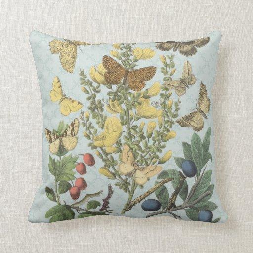Almohada botánica de las mariposas del vintage…