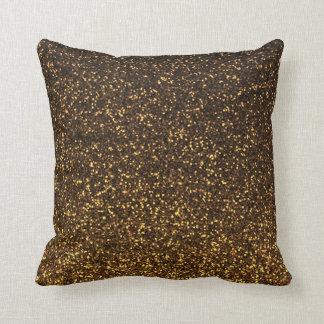 Almohada brillante del brillo del oro negro