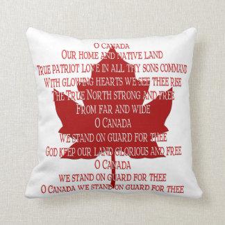Almohada canadiense del recuerdo del himno de la a