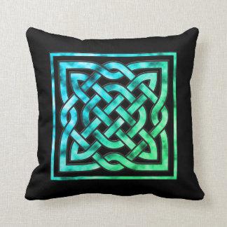 Almohada céltica del nudo - diseño del verde azul