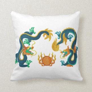 Almohada china del Bordado-Estilo de los dragones
