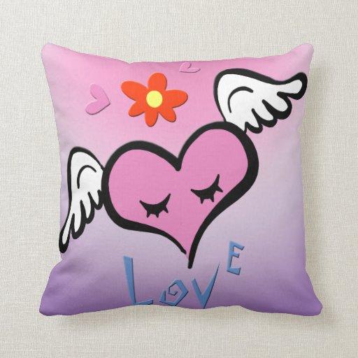 Almohada coa alas del recuerdo del corazón de la t
