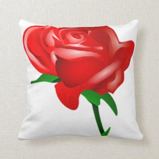 almohada color de rosa roja y negra