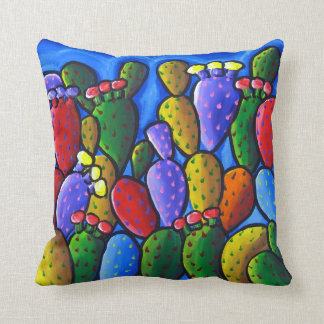 Almohada colorida del arte popular del cactus del