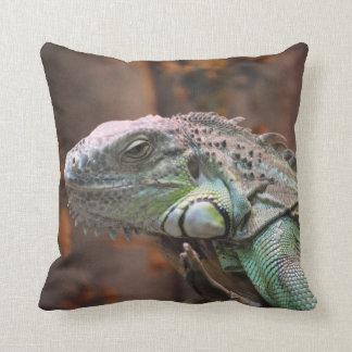 Almohada con el lagarto colorido de la iguana