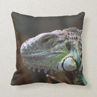 Almohada con la cabeza del lagarto colorido de la