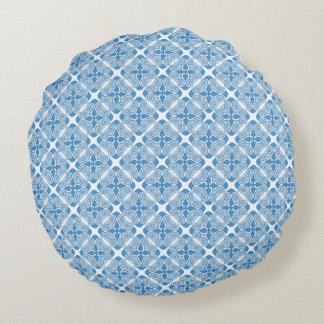 Almohada con los ornamentos azules cojín redondo