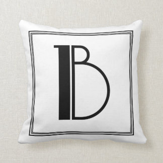 Almohada con monograma de la letra B del art déco