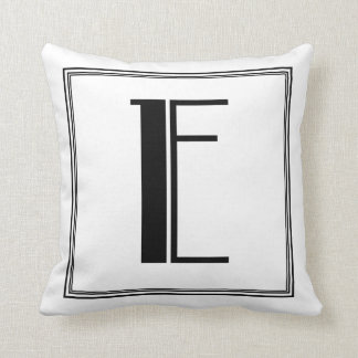 Almohada con monograma de la letra E del art déco