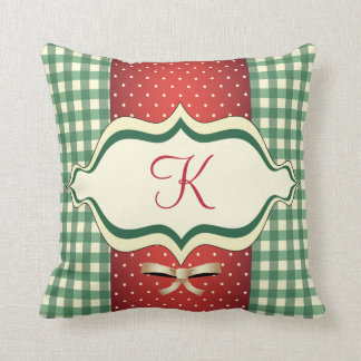 Almohada con monograma del navidad del país