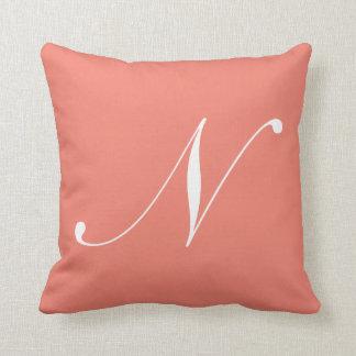 Almohada coralina del monograma de la letra N Cojín Decorativo