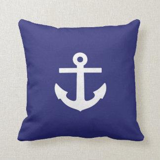 Almohada cuadrada del ancla de los azules marinos