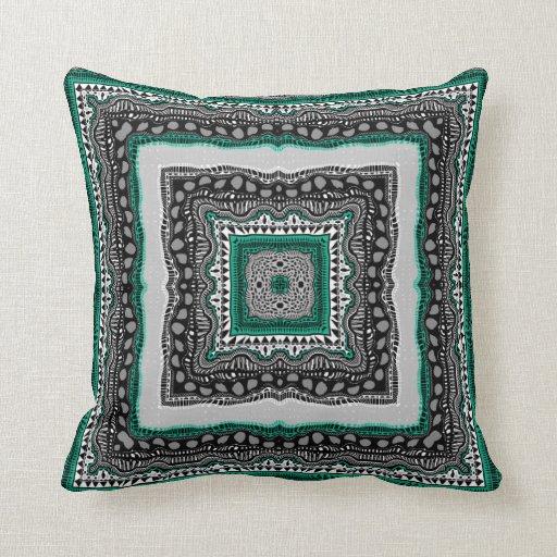 Almohada cuadrada esmeralda en 2 tamaños