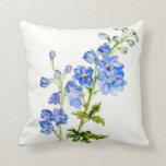 Almohada cuadrada floral de la bella arte azul del