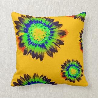 Almohada cuadrada REVERSIBLE del ORO de Sunflowerz
