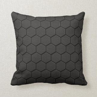 Almohada de cuero negra #1 de la impresión de la
