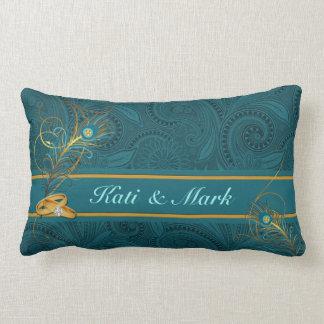 Almohada de encargo del boda del pavo real del