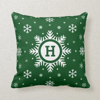 Almohada de encargo verde del copo de nieve del